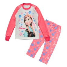 Princess Children Pajamas Suits Long Sleeve Cartoon Anna Girls Pyjamas kids leisure wear Girl's home clothes 8 9 10 11 12 WQBL