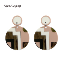 2017 Hip Hop Europe Exaggerated Pop Style Two Circular Big Dangle Earrings Pink Pendant Irregular Fashion Jewelry For Women