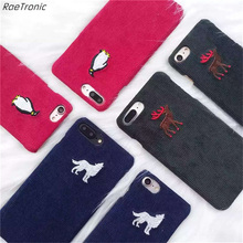 RaeTronic for iPhone 6s Case 3D Embroidery Corduroy Smart Mobile Phone Cases for Coque iPhone 7 Plus 7 6s Plus 6 Skin Cover 212S