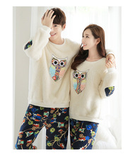 Autumn Winter Women Men Couple Pyjamas Sets Thick Warm Coral Velvet Suit cute cartoon owl long sleeve flannel Pants Sleepwear