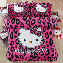 Baby Girl Hello Kitty Fleece Bedding Set/Kid Student Winter Sweet Twin Size Beddings/Child Cartoon 3Pcs Set For Single Bed