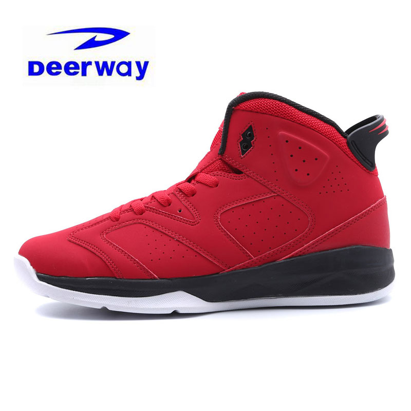 Deerway Brand Basketball Shoes For Men Outdoor Middle Cut Leather Breathable White Red Sneakers Sport Jordan Shoes Free Shipping(China)