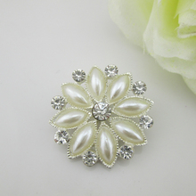 (BT231 30mm)5pcs Flat Back Brooch For Invitation Cards,Alloy Rhinestone Button ,Pearl Buttons