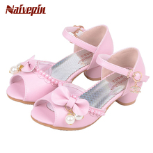 Girls sandals high heels children princess PU leather summer fashion pink white shoes chaussure enfants fille sandalias nina
