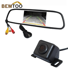 BEMTOO 170 Angle Backup waterproof Car Rear Camera Reverse with 4.3 inch Color LED Car Mirror Monitor ,Droshipping