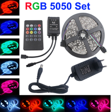 SMD RGB LED Light Strip 5050 RGB LED Strip 5050 4M Led Tape Strip Diode Ribbon Led String Remote DC 12V 2A Power Kit