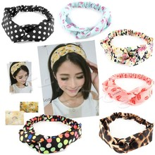 New korea style Women Cotton Turban Twist Knot elastic Head Wrap Headband floral print Twisted Knotted Hair Band woman headwear