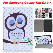 Tab S3 9.7 Flip PU Leather Case Slim Tablet Case Cover Colorful Print For Samsung Tab S3 9.7 T820 SM-T819 Protective Stand Shell