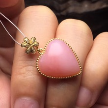 pendant size 25.6*15.7mm 18k rose gold natural Australia pink opal pendant necklace for women fine jewelry(China)