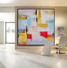 Handmade Modern Abstract Large Contemporary Art Acrylic Canvas Painting Handpainted Wall Artwork Oil Hang Picture for Home Decor(China)