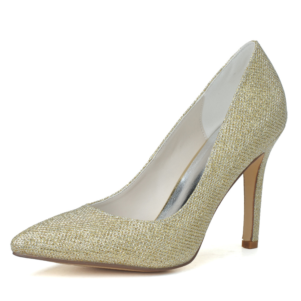 Classic simple pointed toe glitter lady pumps silver gold black sparkling bridal barn wedding party cocktail prom shoes heels<br><br>Aliexpress
