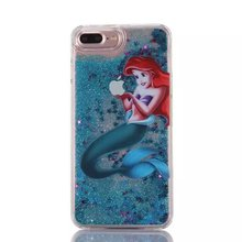 For iphone 6 plus 6s plus  Princess Snow White Mermaid Tinkerbell Elsa Olaf Mickey Minion Cartoon Glitter Liquid Case