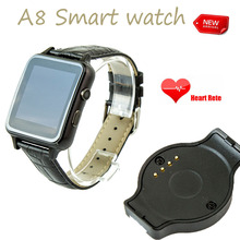 New Arrivel A8 bluetooth smart watch with heart rate SMS NFC with Leather Strap 2MP Camera Curved Surface for Android iOS iphone