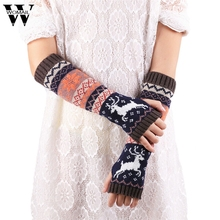 Amazing Fashion Wrist Warmer Winter Knitted Long Fingerless Gloves for Women Mittens High Quality(China)