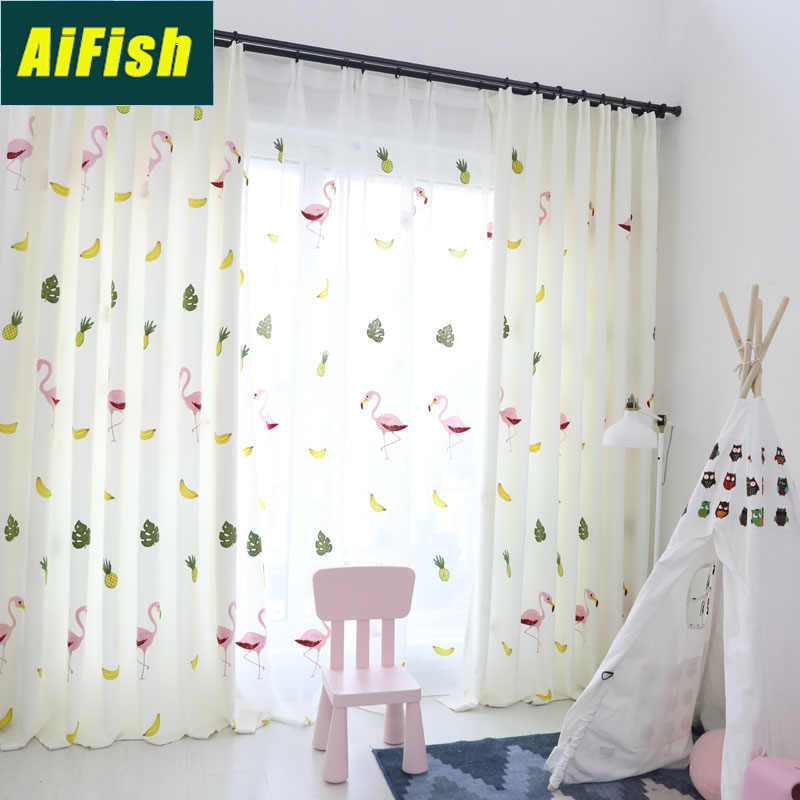 Fruits Printed Semi Blackout Curtains for Kids Bedroom White Sheer Drape with Cute Animals Window Tulle For Living Room WP130&3