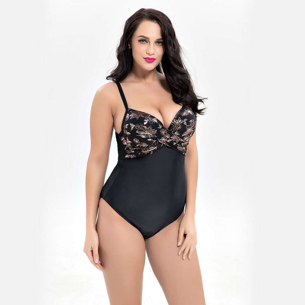 2018 One Piece Swim Suit Women High Quality  Hot Sexy Large Cup Plus Size Swimwear Traje De Bano Mujer Floral  Pachwork Swimsuit<br>