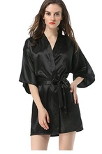 New Black Chinese Women's Faux Silk Robe Bath Gown Hot Sale Kimono Yukata Bathrobe Solid Color Sleepwear S M L XL XXL NB032(China)