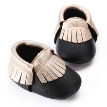 Newborn Fashion Black Color PU Leather Gold Fringed Baby Boy Shoes,Toddler Solid Flat Baby Moccasins Crib Girls First Walkers(China)