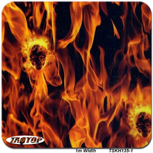 TSAUTOP 1M*10M TSKH135-1 Skull Yellow Flame Design PVA Hydro Graphics Films Water Transfer Printing Film