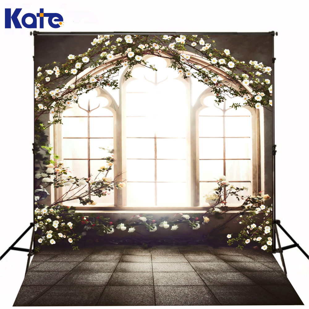 Kate Photography Backdrops Indoor Brick Floor Photo Background White Flowers Window Background For Wedding Backdrop<br>