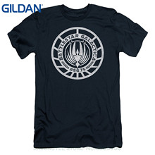 GILDAN T-shirt Men Short Sleeve Tshirt Battlestar Galactica Scratched Logo Mens Slim Fit Shirt Navy