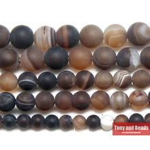 "Free Shipping 15"" Natural Stone Frost Grind Arenaceous Brown Stripe Agates Onyx Round Loose Beads 6 8 10 MM Pick Size(China)"