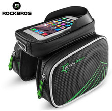 Buy ROCKBROS Bike Bicycle Frame Front Head Top Tube 4.2/ 5.8 /6 Inches Smartphone Holder Touch Screen Waterproof Bag Double IPouch for $14.99 in AliExpress store