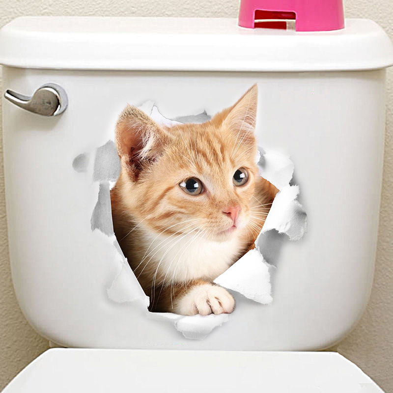 Cartoon animal 3d toilet stickers on the toilet seat cute cats PVC wall sticker bathroom refrigerator door decor stickers decals (31)