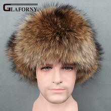Glaforny 2017 Genuine Silver Fox Fur Hats Men Real Raccoon Fur Lei Feng Cap for Russian Men Bomber Hats with Leather Tops(China)