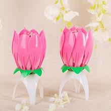 New Birthday Candle Romantic Pink Will Bloom Beautiful Lotus Shaped Candle(China)