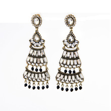 Crafted Glass Crystal Pave Fan Fringe Peacock Earrings with Black Beads Tassel Art Deco Antique Gold Jewelry Wholesale