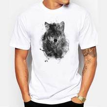 Harajuku Fashion Men Novelty Streetwear Wolf T-shirt 2017 Simple Printed Short Sleeve Men's Plus Size Tee Tops(China)