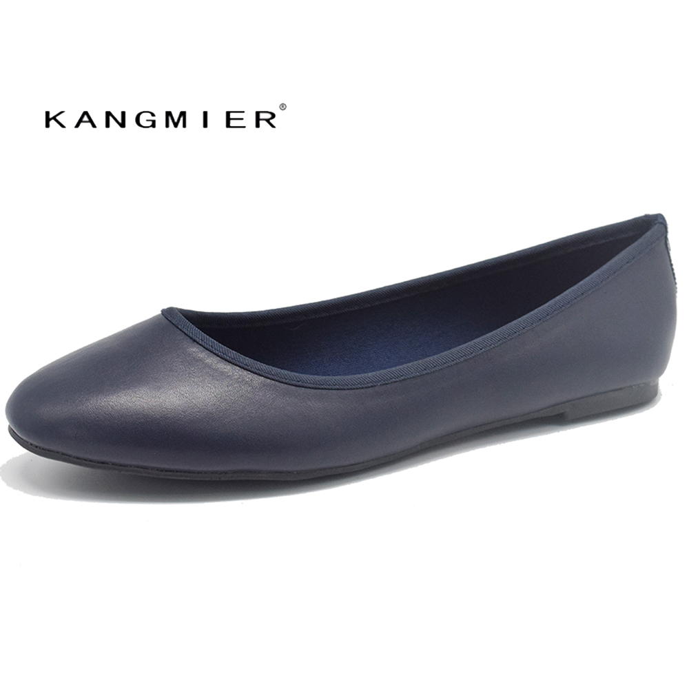 Shoes Women Genuine leather ballet Ballerina Flats Round toe KANGMIER Spring Autumn flat shoes woman in Black Navy<br>