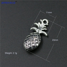 High Quality 20 Pieces/Lot 11mm*23mm Antique Silver Plated Fruit Charm Ananas Pineapple Charms For Jewelry Making