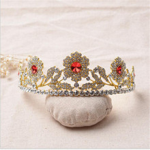 Hotter charm women gold Luxury Wedding Hair Accessory Crystal Prom Queen Tiara Princess Bridal Crown Pageant
