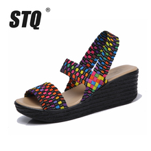 STQ 2017 Summer women sandals shoes women woven flat wedge platform sandals flip flops thick sole high heel gladiator sandals