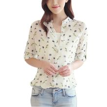 Oioninos Plus Size Women Spring Autumn Blouse Shirts Long Sleeve Blusas Tops Ladies Bird Printed Casual Shirts