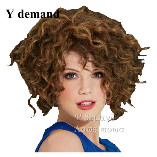 Afro kinky curly wigs pruiken bobs brown Kanekalon Wig Glueless Deep Curly Short Hair Wig for African American free shipping<br><br>Aliexpress