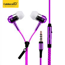 Colorful Zipper Earphone in-Ear Metal Bass MP3 Music AUX 3.5mm with Microphone Stereo Cellphone Earpieces for Smart Phone