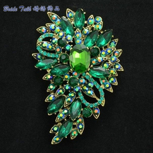 "Women Jewelry Rhinestone Accessories Crystals Green Flower Brooch Broach Pin 3.3"" 4080 Jewelry(China)"