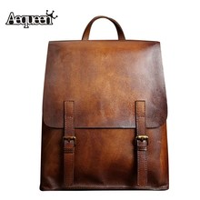 AEQUEEN New Arrival Genuine Leather Backpack Men Vintage Rucksack Travel Backpack School Bags For Teenagers Boys