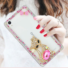 Luxury Bling Cartoon Pattern Mobile Phone Case For Soy Xperia T3/M50W,Transparent Diamond Cell Phone Case For Sony Xperia Style
