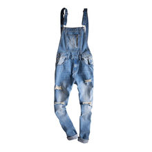 cc1b9bffa2c MORUANCLE Fashion Men s Ripped Denim Bib Overalls Distressed Jeans Jumpsuits  For Man Destroyed Suspender Pants Washed Blue