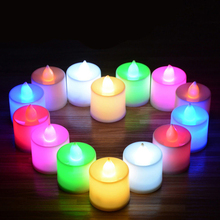 Festival Christmas Decor 24 pcs Multicolor Flickering Light Tea Candles Flameless Battery LED Tealight Wedding Christmas YX#