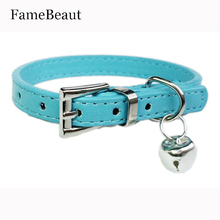 FameBeaut Hot Cute Bell Leather Dog Collar Designer Small Dog Cat Training Collars Harnesses Pet Leash XXS/XS 5 Colors(China)