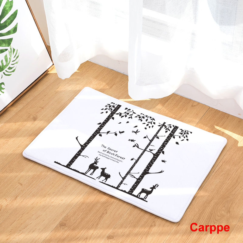 Flannel Floor Mats Nature Song Printed Bedroom Living Room Carpets Cartoon  Bear Pattern Mat For Hallway Anti Slip Tapete   Us874