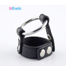 Buy Quality Adjustable Black PU Leather Ball Stretcher Scrotum Bondage Restraint Cock Ring Male Chastity Device BDSM Sex Toy Men