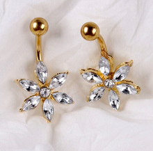 Navel Body Piercing Jewelry Healthy Titanium Material Flower Shape Big Gem Dotted Clear Crystal