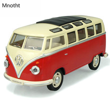 1:24 Volkswagen Classical Bus Model Pull Back Alloy Vehicles Mode Kids Toy RED Color Light Sounds Musical Toys Gift L60(China)