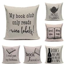 Modern Minimalist Book Pillow Case Pattern Harry Potter Love Letter Words Character Coffee Tea Mug Cat Cushion Cover Cartoon(China)